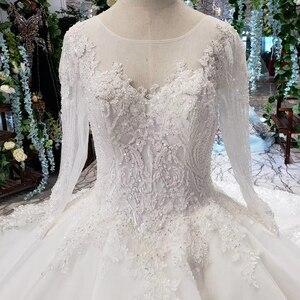 Image 4 - LS53710G lüks gelinlik uzun kollu o boyun aç geri balo elbisesi gelin giydirme abiye 2019 promosyon vestido de noiva