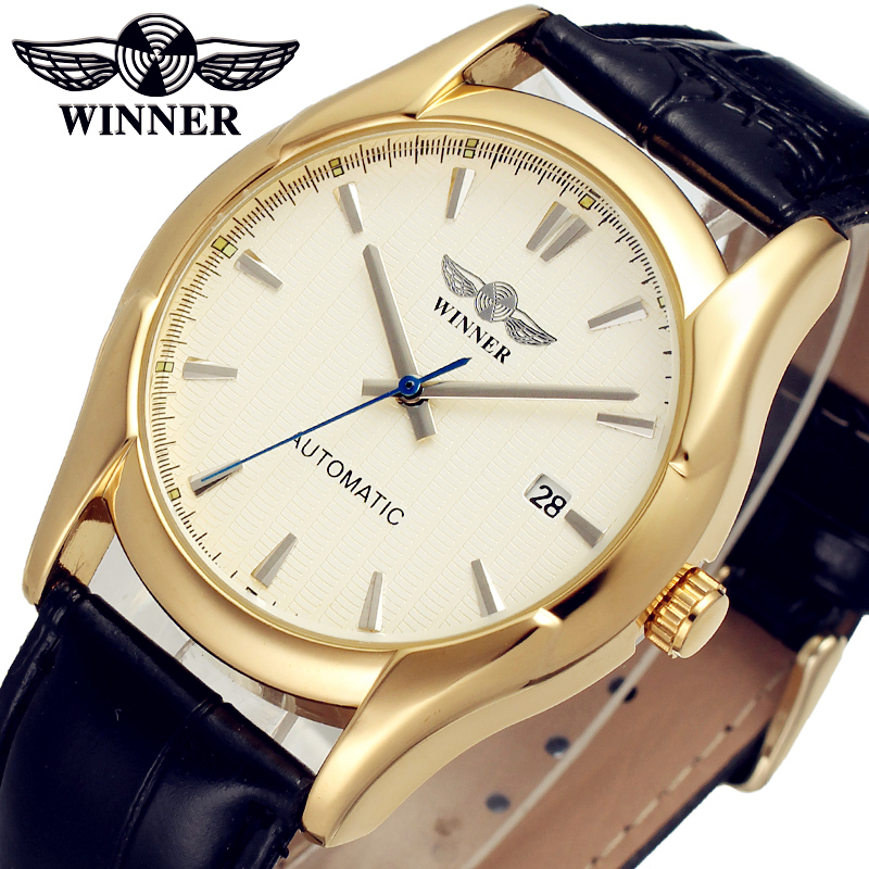 WINNER Men Luxury Brand Gold Leather Strap Business Watch Date Automatic Mechanical Wristwatches Gift Box Relogio Releges 2016 fashion winner men luxury brand date leather band casual watch automatic mechanical wristwatches gift box relogio releges 2016