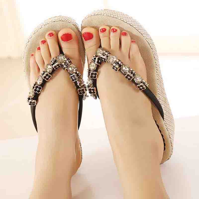 caf373dc668e5 HEE GRAND Flip Flops Woman Summer Slippers Wedges Pumps Rhinestone Beading  Hemp Bohemia Beach Style Shoes Woman XWT300 -in Slippers from Shoes on ...