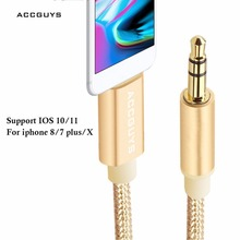 ACCGUYS Lighting Cable to 3.5mm jack Audio Cable Car AUX Cord For iPhone X 8 7 / 7Plus Audio Transfer Extension AUX Cable IOS 11