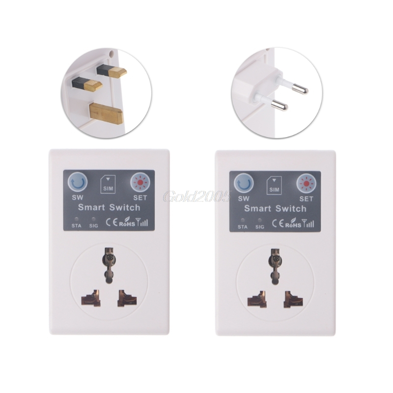 EU/UK 220V Phone RC Remote Wireless Control Smart Switch GSM Socket Power Plug Apr Drop Ship