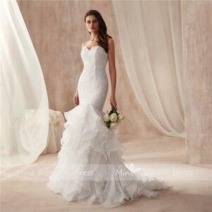 Image 3 - Querida decote design babados organza vestido de casamento sereia renda plus size vestidos de noiva vestido de festa longo de luxo