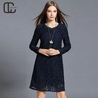 2017 Autumn Winter Plus Size Floral Lace Dresses Navy Blue Elegant Long Sleeves Lady Dress High