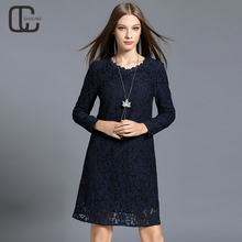 Autumn Winter Plus Size Floral Lace Dresses Navy blue Elegant Long Sleeves Lady Dress High Quality