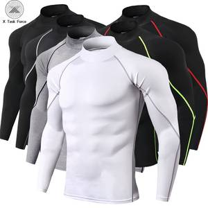 High collar Compression Shirts Men Bodybuilding Sportswear T-shirt Long Sleeve Top T Shirt Men Fitness Tight Rashgard S-3XL