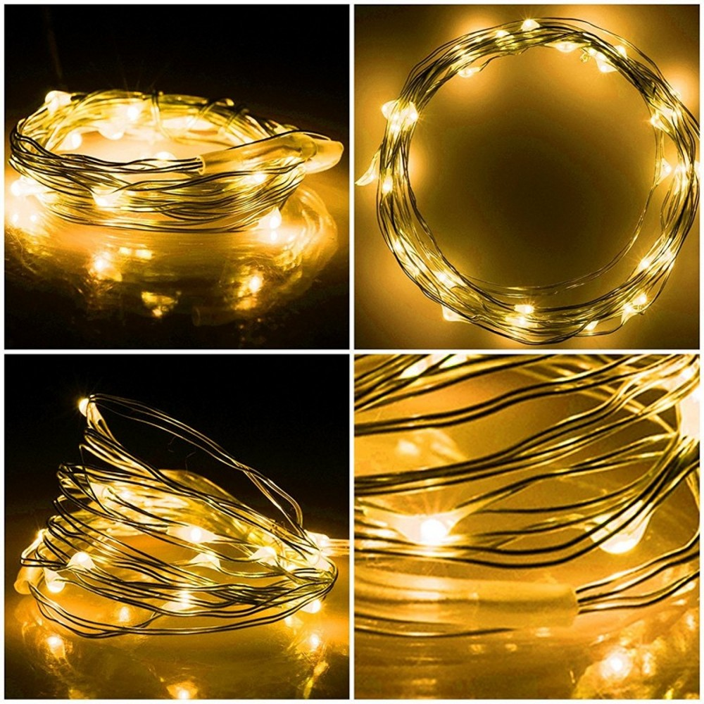 Купить с кэшбэком 2M 5M 10M 100 Led Strings Copper Wire 3XAA Battery Operated Christmas Wedding Party Decoration LED String Fairy Lights