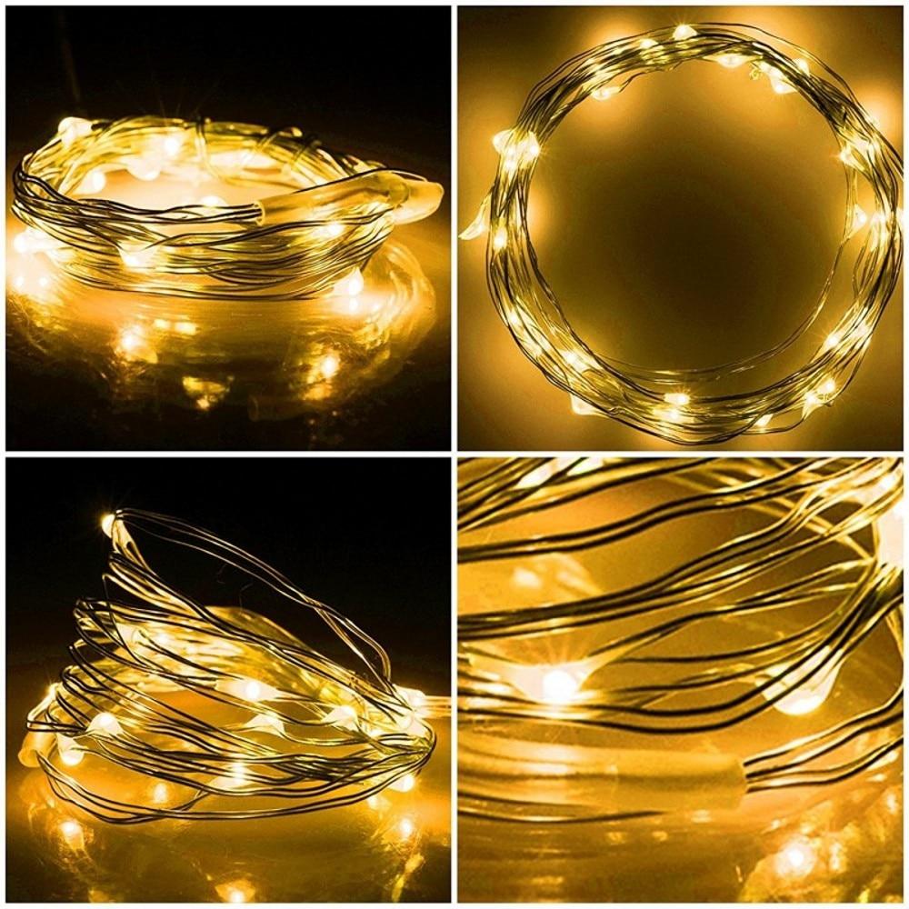 Novo 2 M 3 M 4 M 5 M Fio De Cobre LEVOU Cordas de Fadas luzes AA - Iluminação festiva - Foto 6