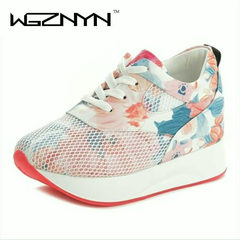 2018 New Women Flower Print Wedge Sneakers Lace Up Casual Shoe Wedges Shoes for Spring Summer Autumn Shoes Woman Basket Femme W9