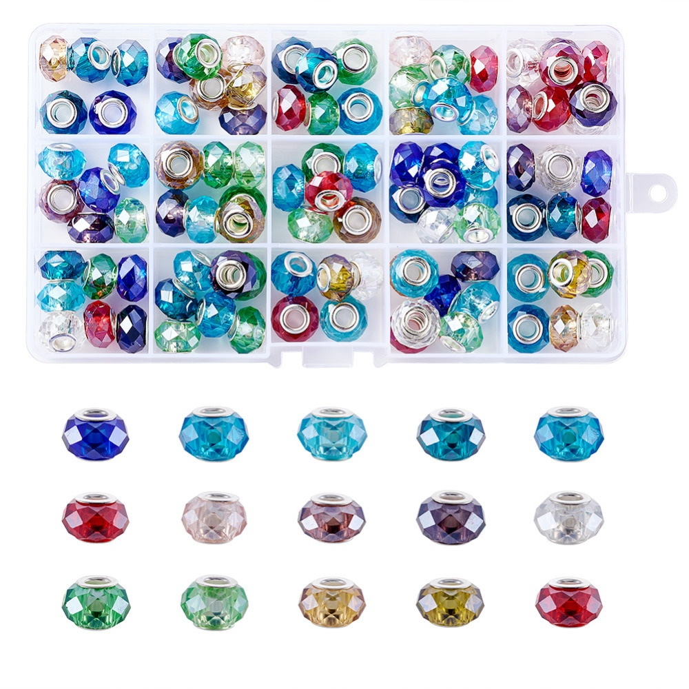 Pandahall 100pcs/box 14x9mm Glass European Beads Large Hole Snake Chain Charms Mixed Color for Jewelry Making Bracelet Hole: 5mm 2016 new products cheap china feie brand invisible digital hearing aid audiofone amplificador de surdez s 10a audifono with a10