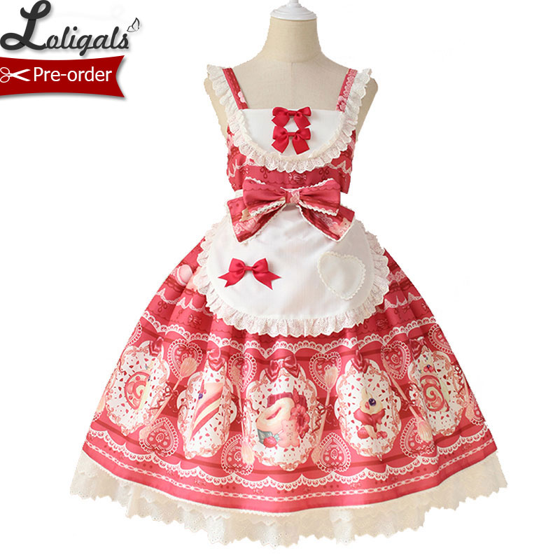 Sweet Desert Printed Lolita JSK Dress with Apron by Alice Girl Pre order