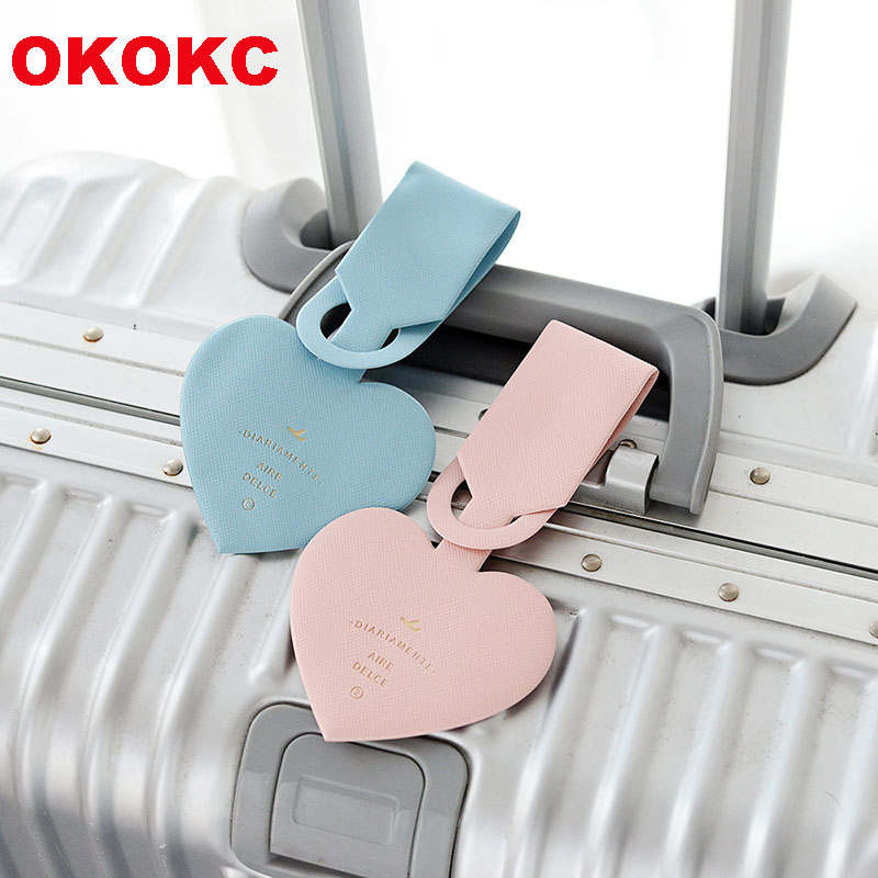 OKOKC Simple Heart-shaped Luggage Tags PVC Leather Passport Tags Travel Luggage Label Straps Travel Accessories