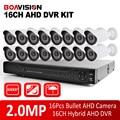 Kit Sistema DVR 16CH 1080 P AHD 1080 P 16 PCS HD 2MP bala IR À Prova D' Água 20 M Câmera AHD 1080 p Vigilância CCTV Kit boavision