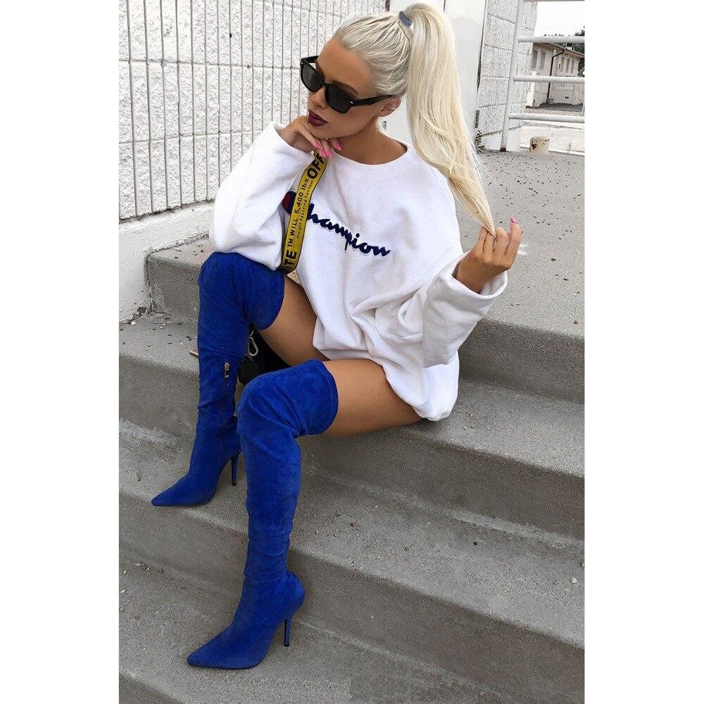2019 moda elástica azul marino muslo botas altas mujeres gamuza punta sobre la rodilla botas Sexy señoras vestido de fiesta zapatos de las mujeres - 2