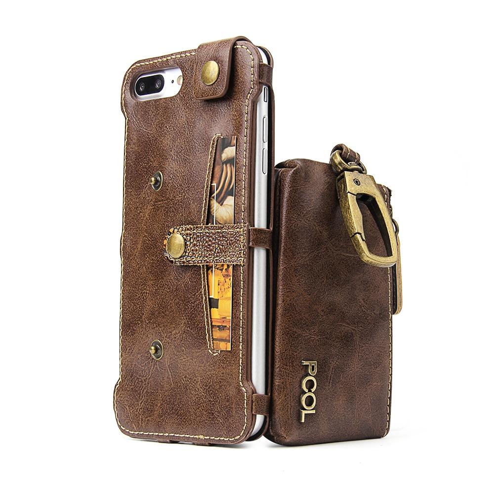 bilder für PCOL Pu-leder Back Cover Fall Für Apple iphone 6 7 Plus luxury Leather Phone Cases mit Kartenhalter + schlüsseltasche mit Metall haken