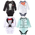 2016 children's wear European and American style gentleman triangle rompers, tie male baby clothes, baby rompers clothes