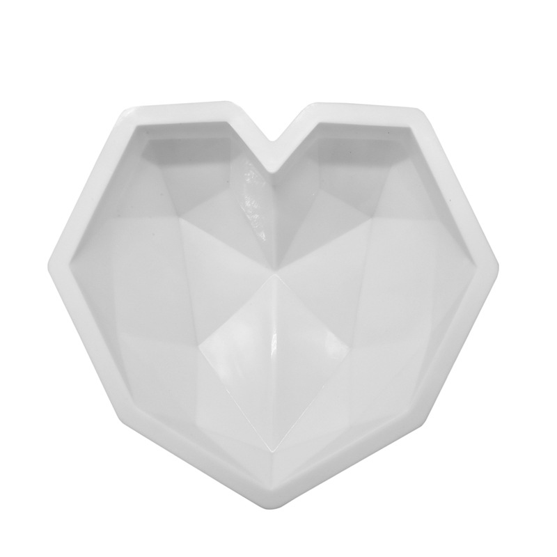 Image 2 - SHENHONG 3D Diamond Love Heart Dessert Cake Mould Pop Silicone Art Mold 3D Mousse Baking Pastry Silikonowe Moule Decoration-in Cake Molds from Home & Garden