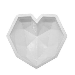 Image 2 - SHENHONG 3D elmas aşk kalp tatlı kek kalıbı Pop silikon sanat kalıp 3D mus pişirme pasta Silikonowe modülü dekorasyon