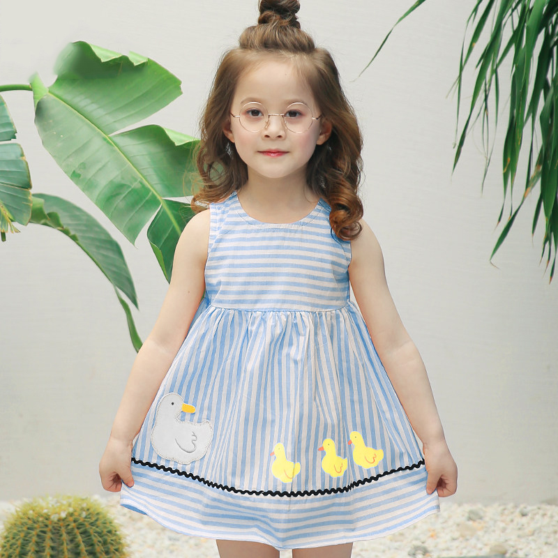 Girls Boutique Dress Cute Cartoon Duck Clothes Blue Striped Frock Design Sisters Clothing for Age56789 10 11 12 13 14Years Old makeup clothes for teen girls baby child cotton frock designs clothing girl kids dress for age 5 6 7 8 9 10 11 12 13 14 15 years