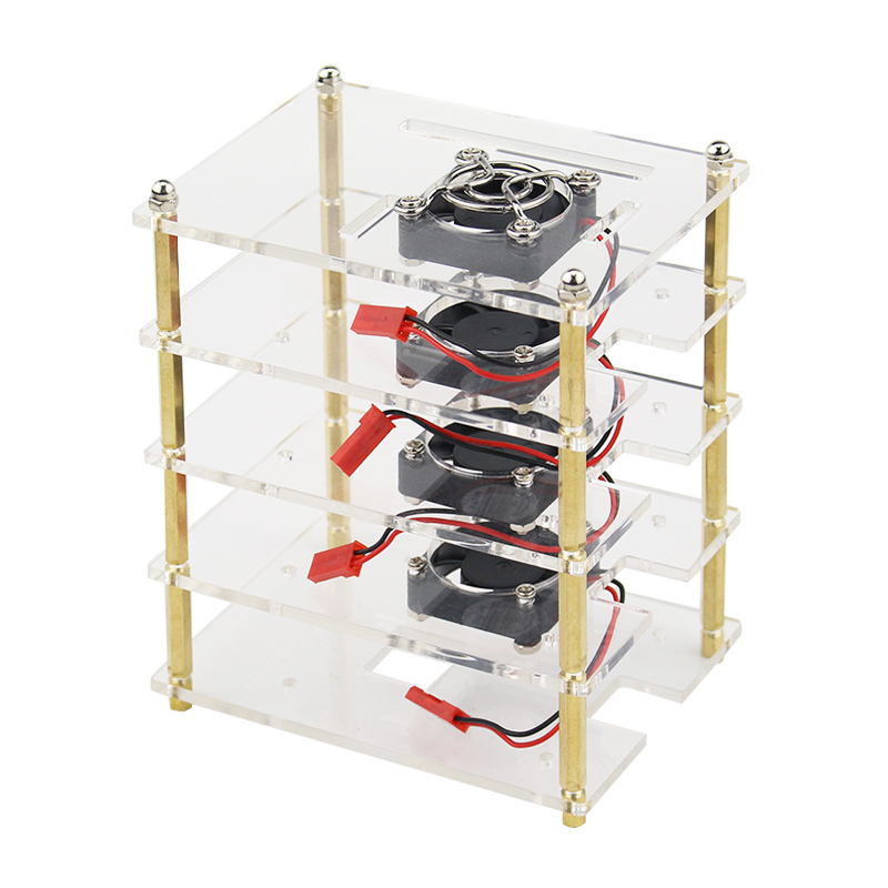 Image 3 - Superimposed 4 5 6 7 8 9 Layer Acrylic Case for Raspberry Pi 4 Model B Acrylic Holder Shell + Cooling Fan + Metal Cover for RPIDemo Board Accessories   -