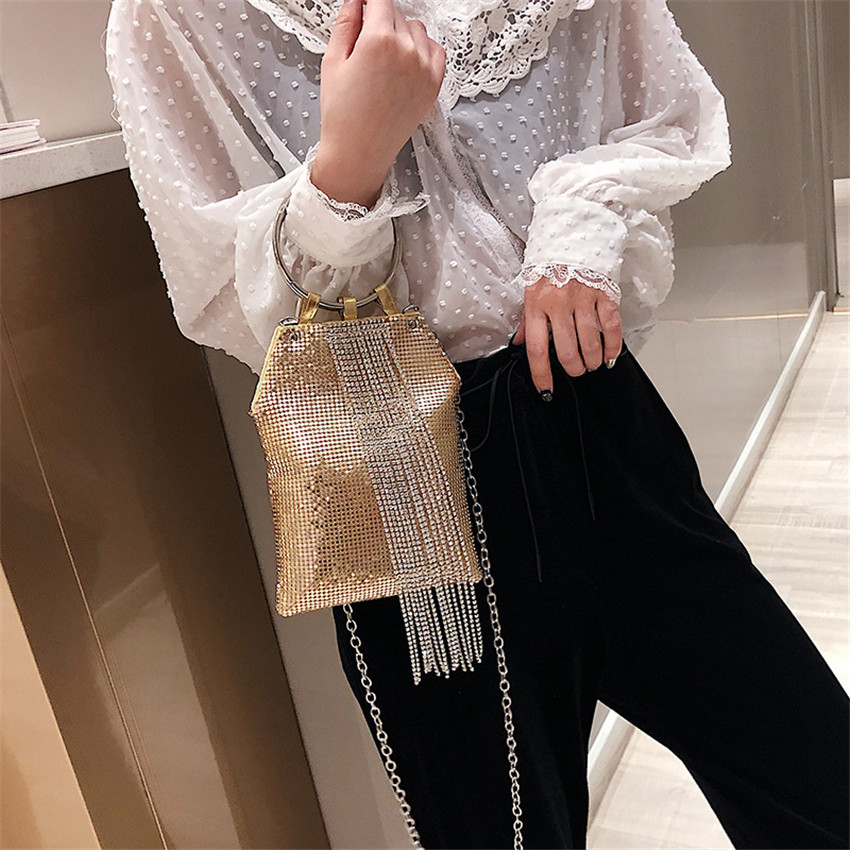 TOYOOSKY Fashion Tassel Ring Evening Bags Women Diamonds Paillette Handbags Wedding Party Shoulder Messenger Bag Wristlets Purse in Shoulder Bags from Luggage Bags