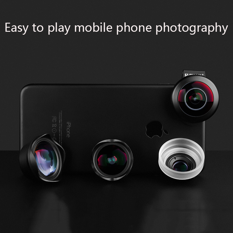 Mobile Phone Camera Lens Universal 4 in 1 Fish Eye Photo Lens for iPhone 6 7 Samsung Galaxy HTC Xiaomi Cell Phone Camera Lens - 4