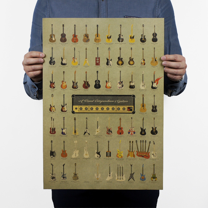 Vintage Style Paper Poster Retro In Wall Stickers Classic Guitar Music Home Decoration Art Paper Poster