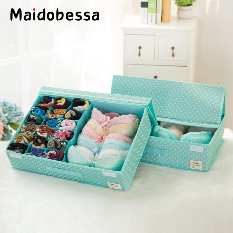 Maidobessa Bra Storage Box Drawer Organizers ocks Washable Underwear Box Cap Foldable Stocking Scarfs Home Storage Organizer