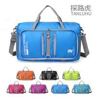20L Waterproof Nylon Sport Bags Outdoor Gym Bag Folding Travel Bags Mesh Fabric Lightweight Barrel Shoulder Women Sports Handbag