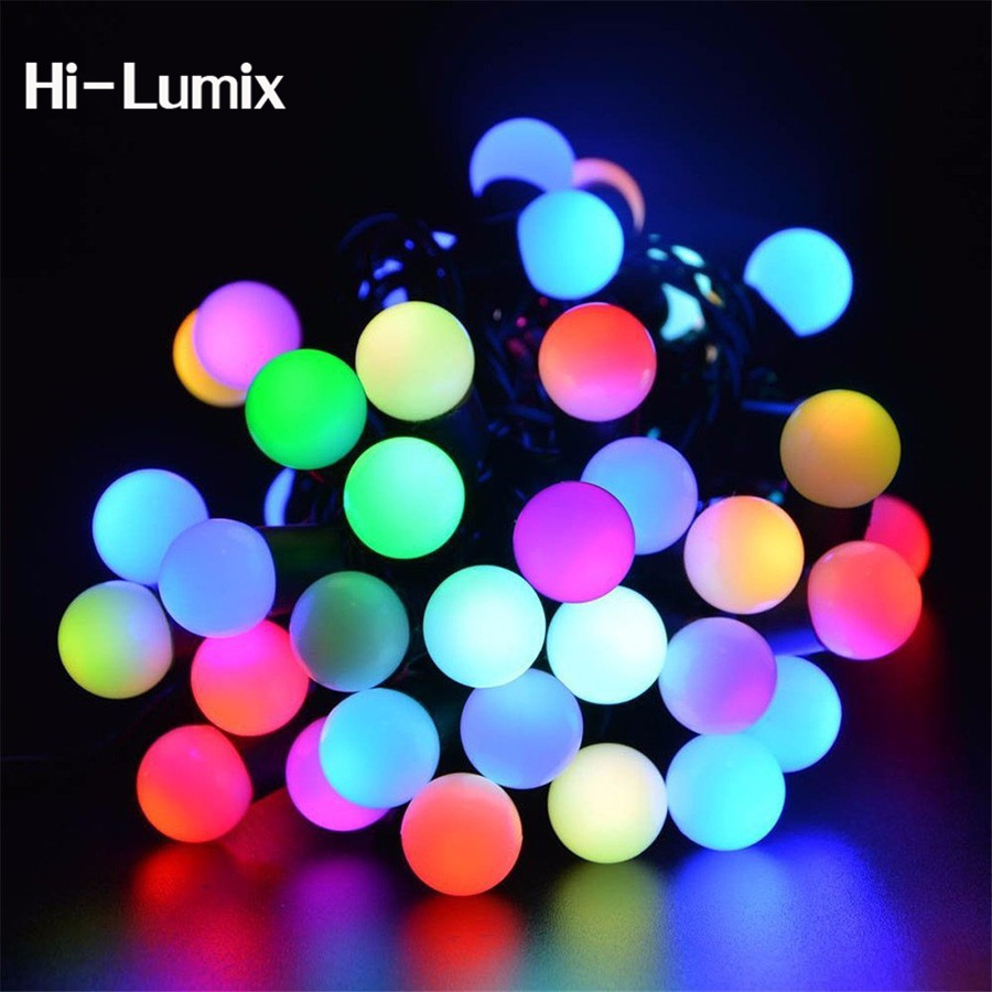 Hi-lumix 7m 50led 21mm Ball String Light Solar Powered Flexible Lighting Waterproof Outdoor Decoration Lamp Holiday Party Garden Famous For Selected Materials Delightful Colors And Exquisite Workmanship Novel Designs