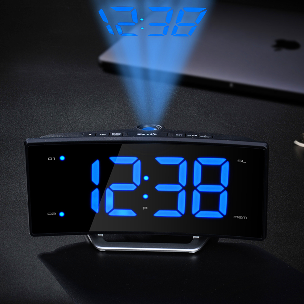 Digital LED Projection Clock glowing numbers Display desk