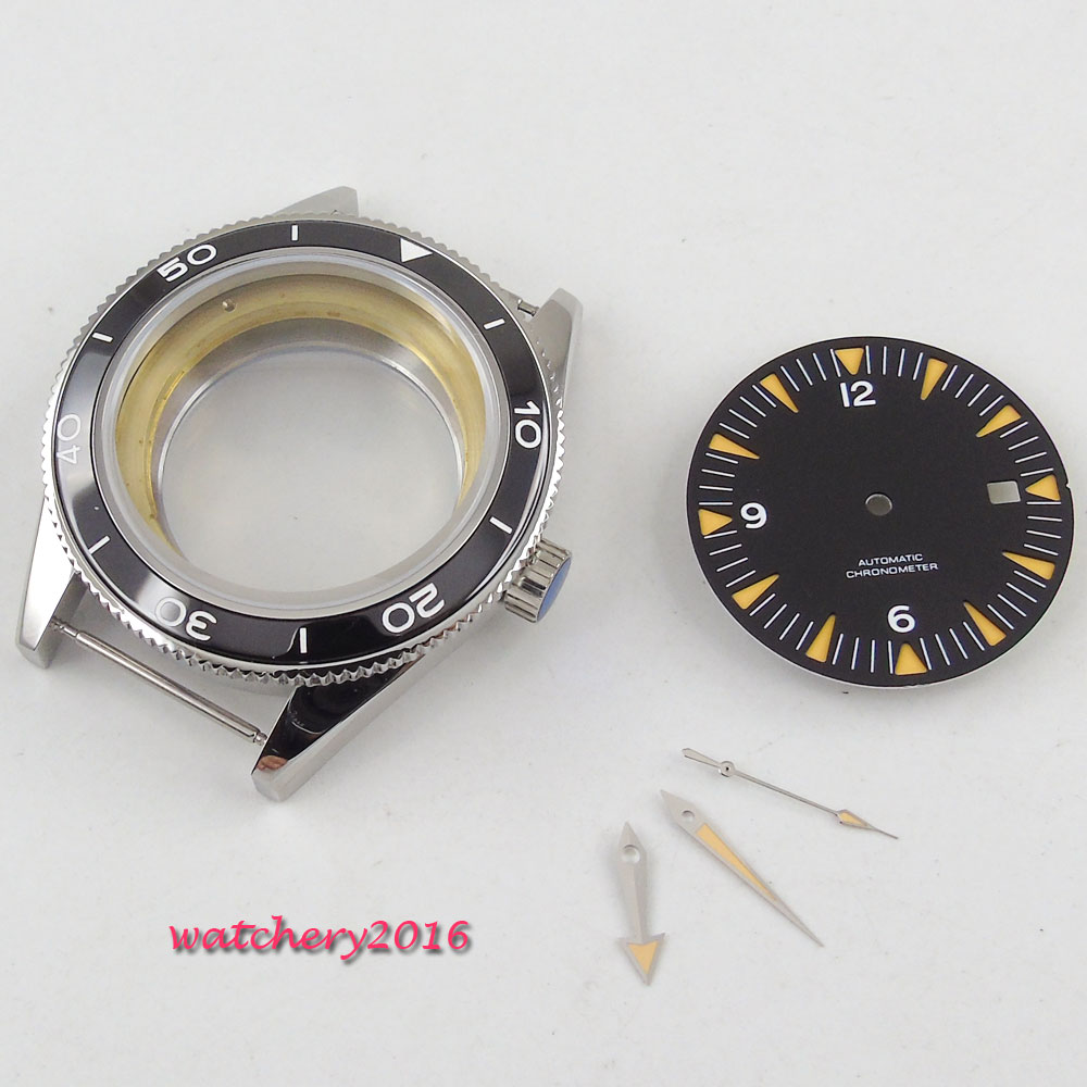 New 41mm parnis black Dial + Hands + Watch Case set fit ETA 2824 2836 Movement Sapphire Glass High quality hardened Watch Case new ukulele case 23 water proof glass fiber case high quality dropshipping wholesale yellow