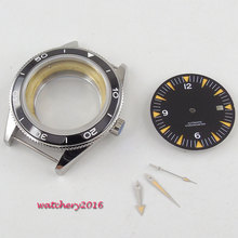 New 41mm parnis black Dial + Hands Watch Case set fit ETA 8215 2836 Movement Sapphire Glass High quality hardened