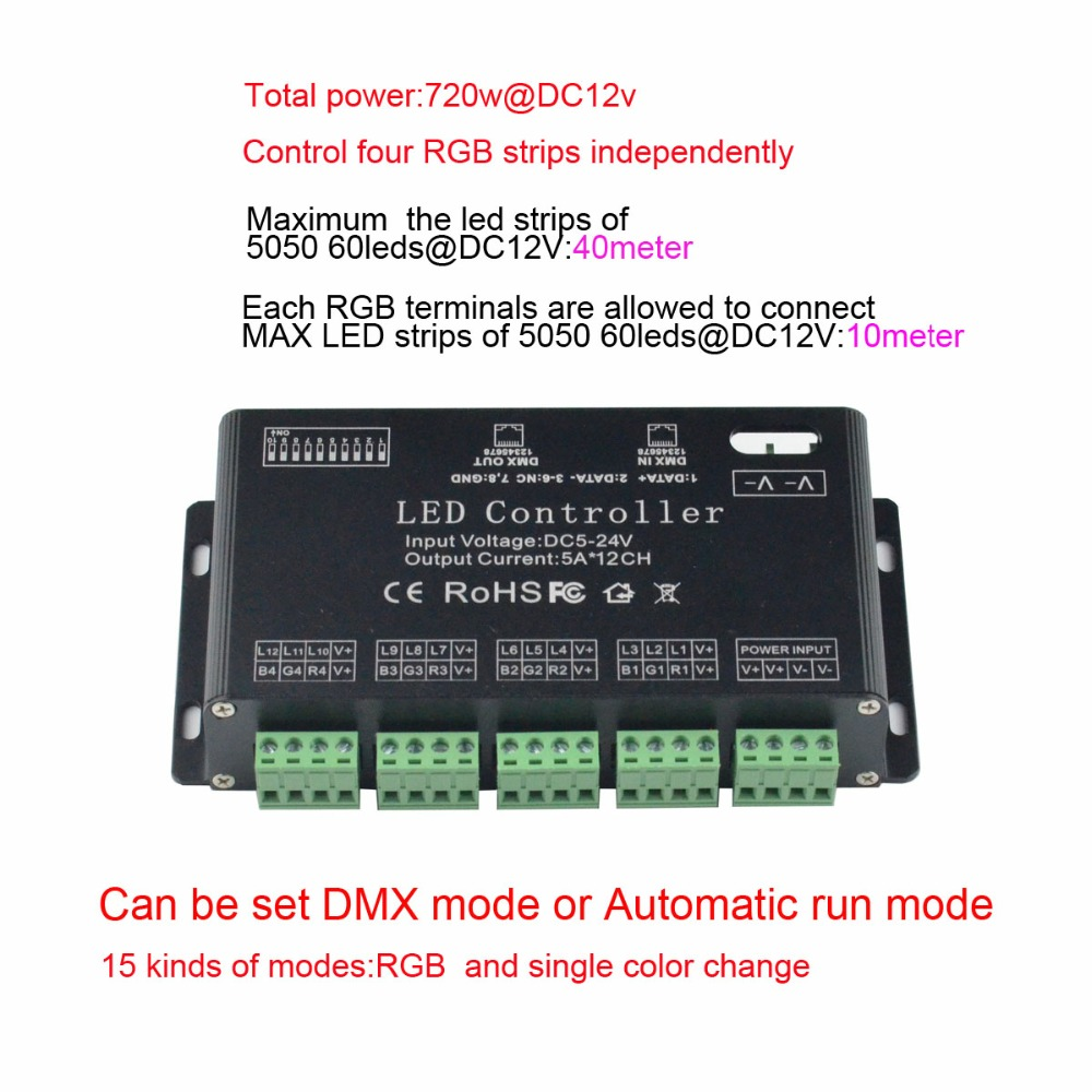 12 channel Easy DMX LED controller;dmx decoder& driver led strip module lamp rgb single color - GuangZhou kingmaled lighting Technology Co., Ltd. store