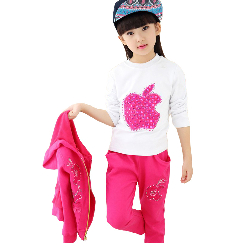 3 Pcs girls spring sports suit baby girl clothes 10 13 age