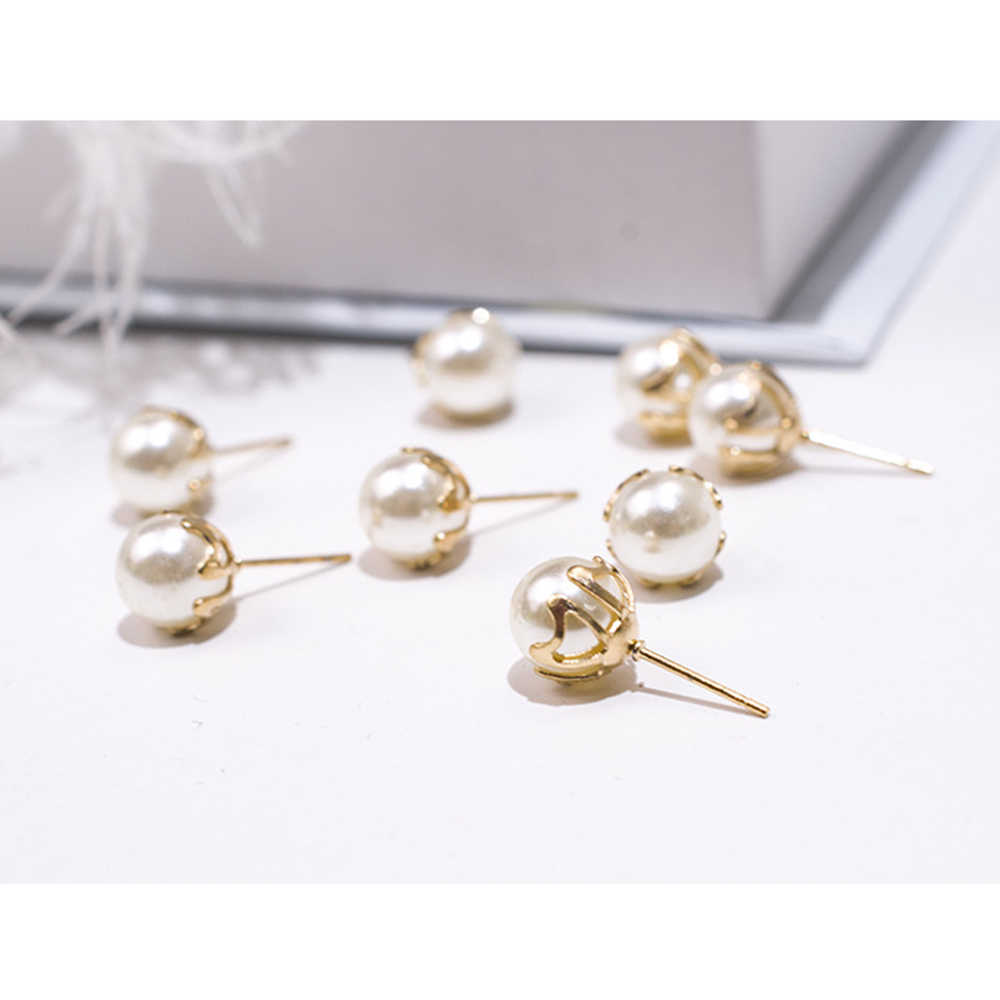 Elegant 10 pcs/Set (5 pairs/set) Simulated Pearl Stud Earrings for Women Girl Jewelry Findings DIY Earrings Base Flower Earrings