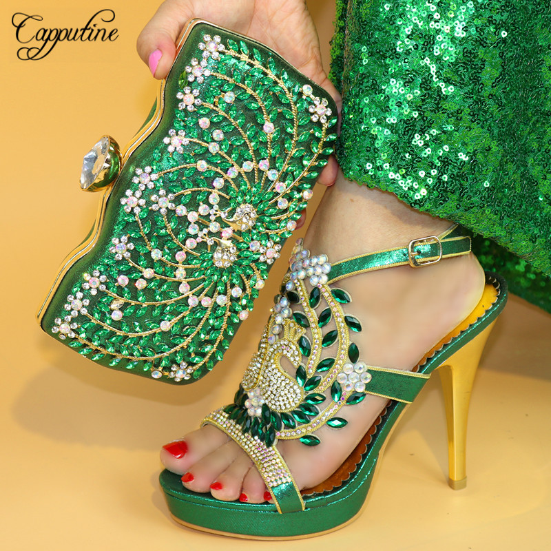 Capputine New Design Woman Green Shoes And Bag Set Hot Sale Fashion Spike Heels Shoes And Bag Set For Party Size 38-42 TX-863 cd158 1 free shipping hot sale fashion design shoes and matching bag with glitter item in black