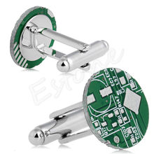 1Pair Men's Personalized Stainless Steel Printed Circuit Board Men's Cufflinks Party Shirt Cuff Links