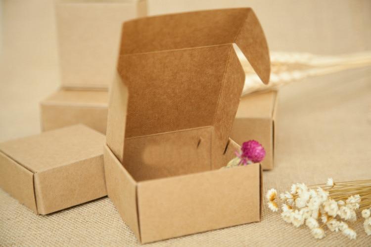 30pcs 5.5*5.5*2.5cm Brown Gift Packaging Kraft Paper Box For JewelryWeddingCandyCraftsCakeHandmade Soap Packing boxes