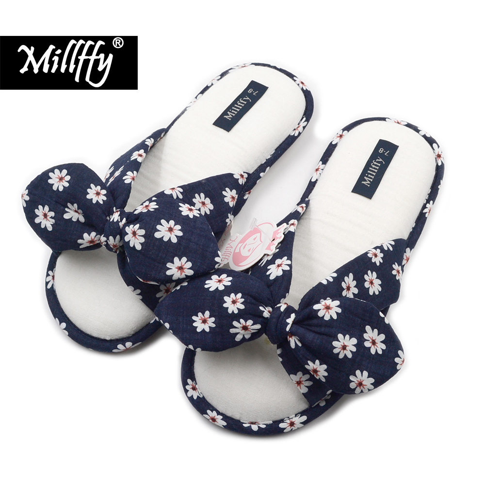 Millffy 2018 new fashional summer Floral sweet cotton slippers Japanese flowers women's slippers shoes millffy 2018 new summer sweet ladies shoes pink girl home slippers cotton indoor slip on knot stripe slippers