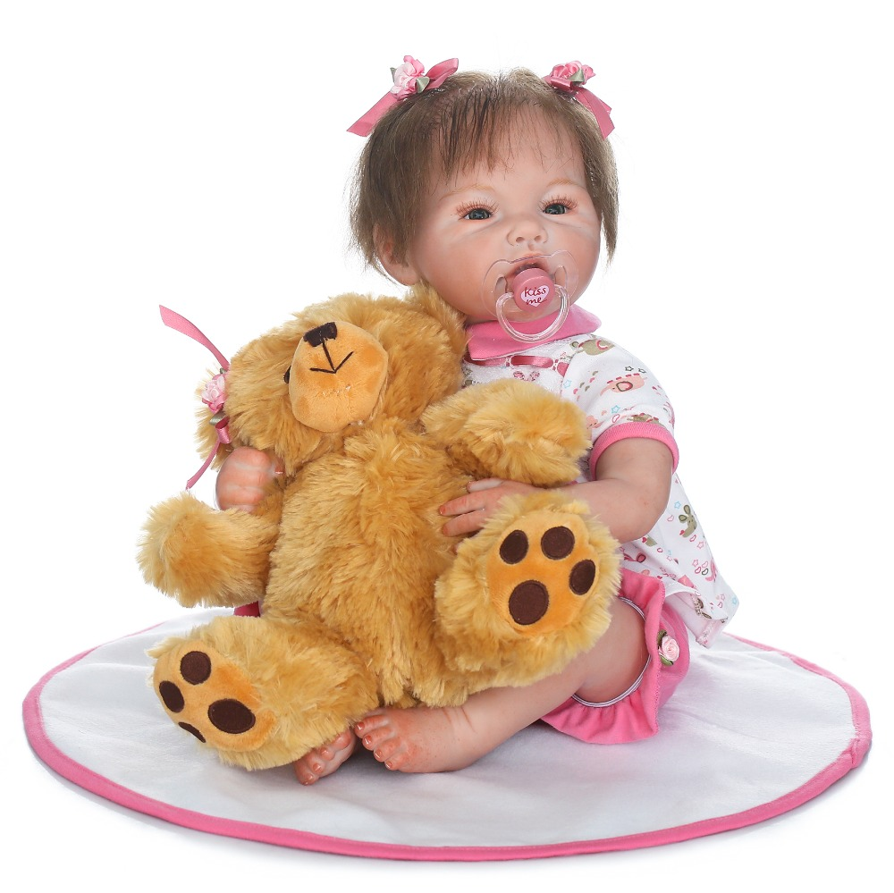 50cm Silicone Reborn Baby Doll Toys Lifelike 20inch Pink Princess Newborn babies Doll With Bear Birthday Gift Girls Brinquedos