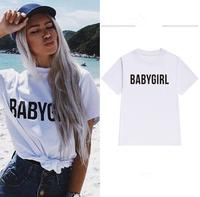 New European And American Street Women Babygirl Letters Loose T Shirt Female Bf Short Sleeved Top