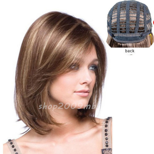 New Fashion Womens Short Brown Blonde Natural Straight Cosplay Hair Full Wigs ...