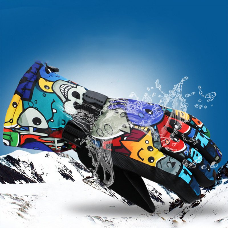 -30 Degree Winter Warm Snowboard Ski Gloves Waterproof Thicken Skiing Mittens Snowmobile Motorcycle Snow Monster Scrawl Printed With Traditional Methods