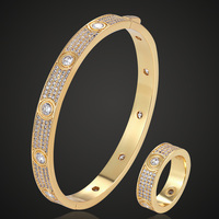 Zlxgirl Luxury brand Europe AAA pave cubic zircon bangle with ring wedding jewelry sets women's party love bangle gifts