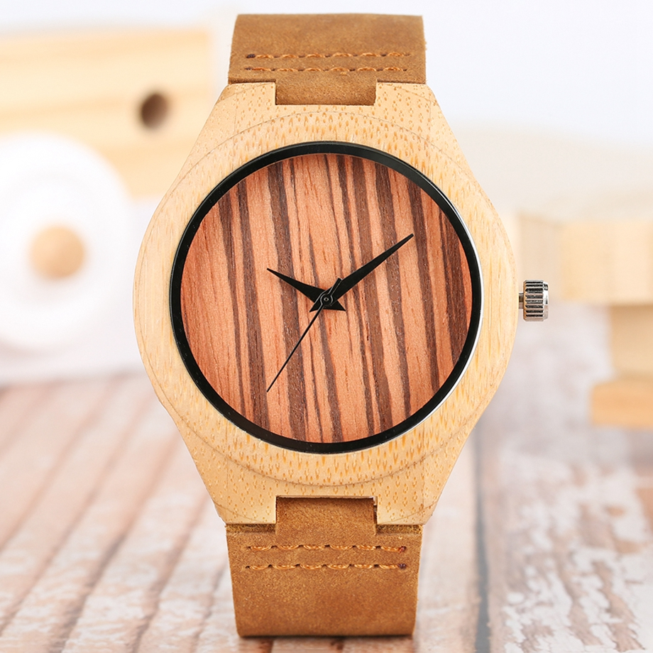 Bamboo Clock Handmade Leather Strap Watches Women Casual Quartz Wristwatch Wooden Watches 2018 Men relogio masculino (8)