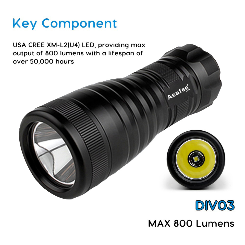 DIV03 LED mini flashlight Underwater Professional LED Scuba Diving Light Powerful Dive battery Torch Flashlight - 3