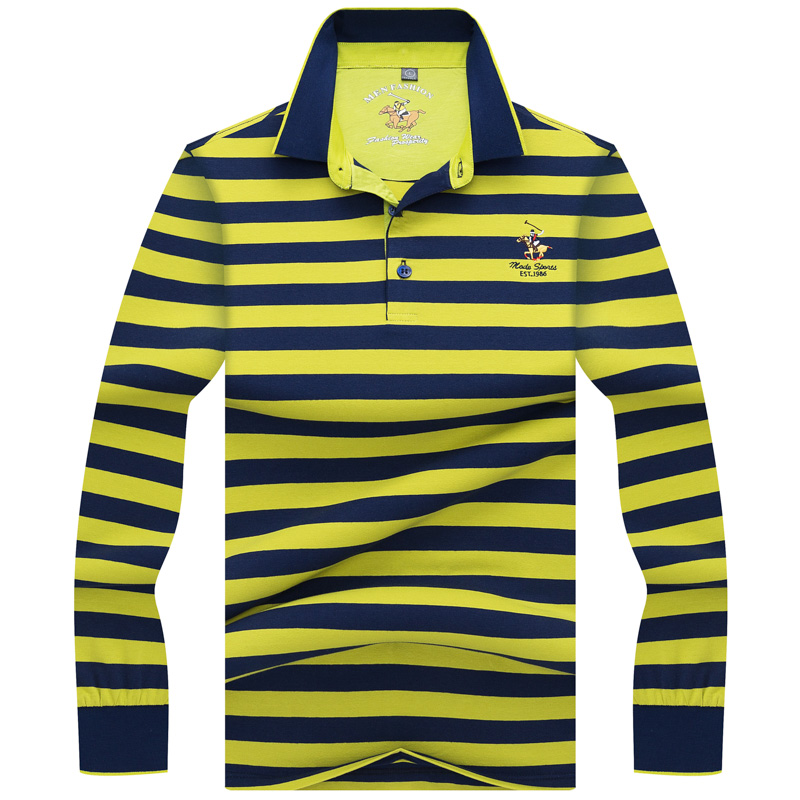 2018 New Mens   Polo   Shirt Autumn Long Sleeve Fashion Stripe Fit Slim Male Casual   Polo   Shirts Men Camisa   Polo   Homme M-3XL AF8896