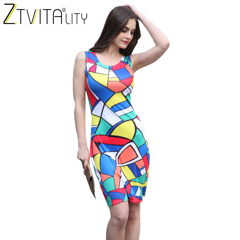 ZTVitality Women Dresses 2018 New Arrival Casual Dresses Sleeveless O-Neck Multicolour Print Fashion Dress Slim Sexy Dress M-XL