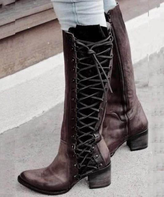 Chaussure mujeres invierno matin Roma zapatos mujer rodilla alta botas  chunky tacones altos vintage botines zapatos 3c1a4abbb87f