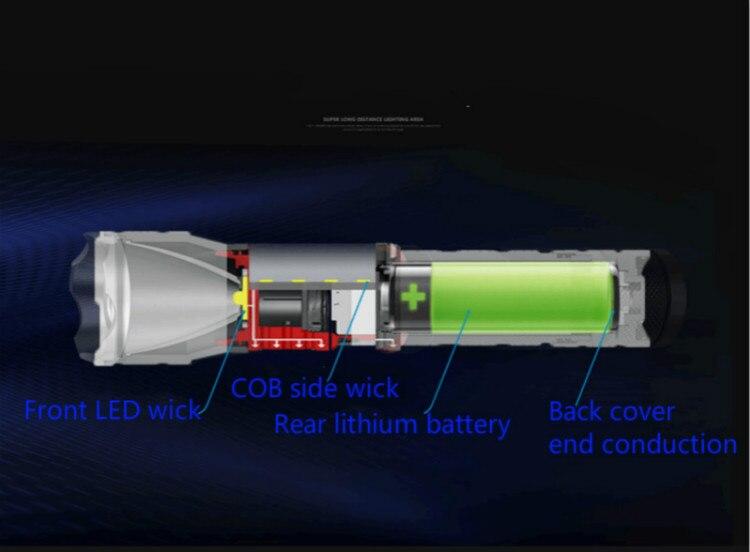 Großhandel led high power lade taschenlampe tri color light